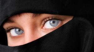 Beautiful Blue Eyed Woman in Niqab veil